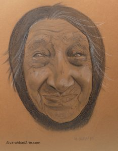 Anciana Retrato Pastel