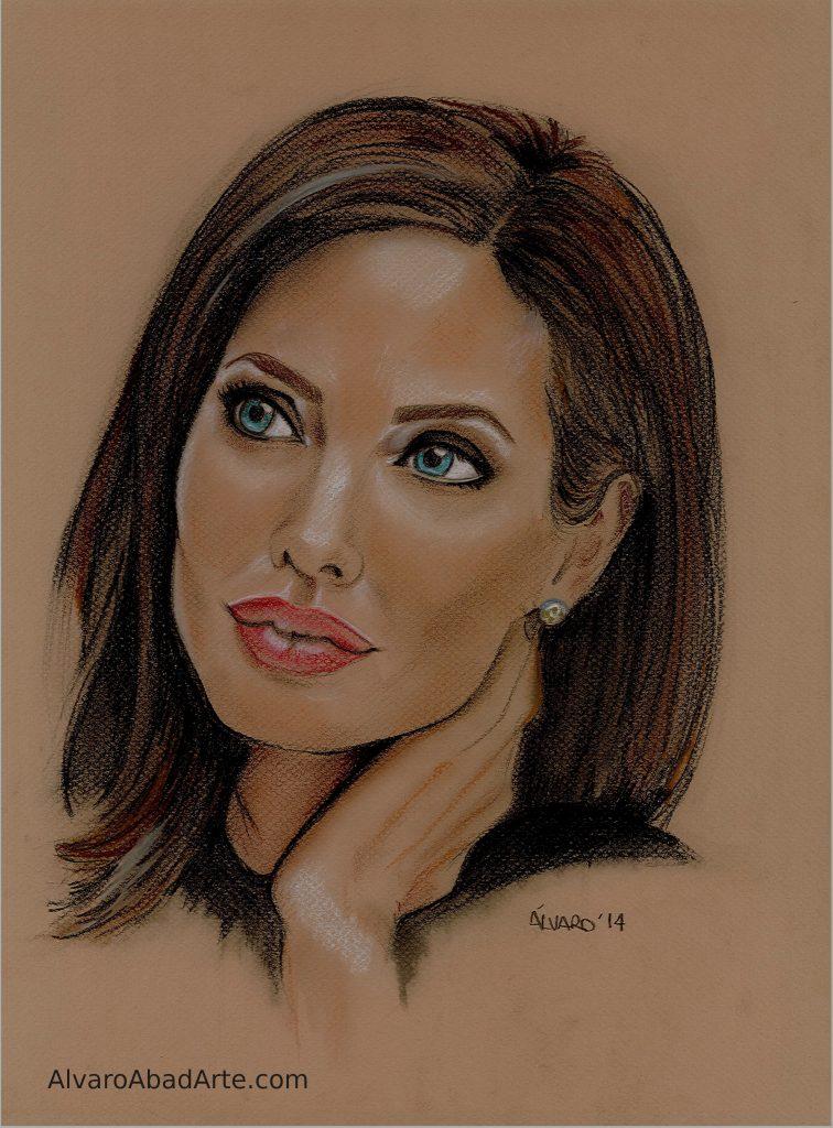 Angelina Jolie Retrato Pastel