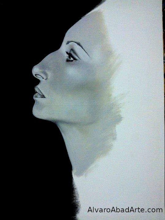Barbra Streisand Rompedora Retrato Oleo Blanco y Negro
