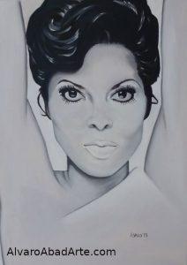 Diana Ross Retrato Óleo Blanco Negro Retrato Crearium