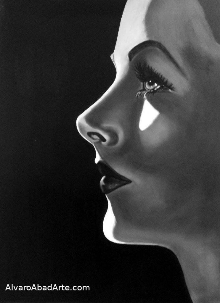Hedy Lamarr Retrato Oleo Blanco y Negro