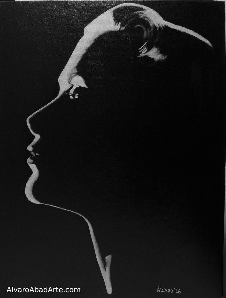Grace Kelly Retrato Óleo Blanco y Negro