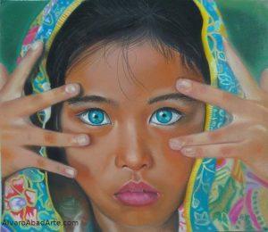 Niña con Sari Pastel Retrato