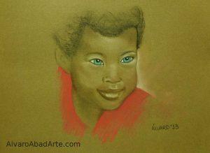 Ojos Azules 2 Retrato Pastel
