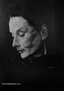 Audrey Hepburn Retrato Óleo Blanco y Negro Prado Goyart Gallery