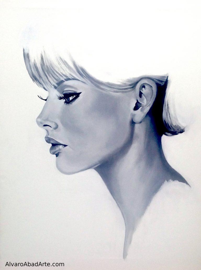Britt Ekland Retrato Óleo Blanco y Negro