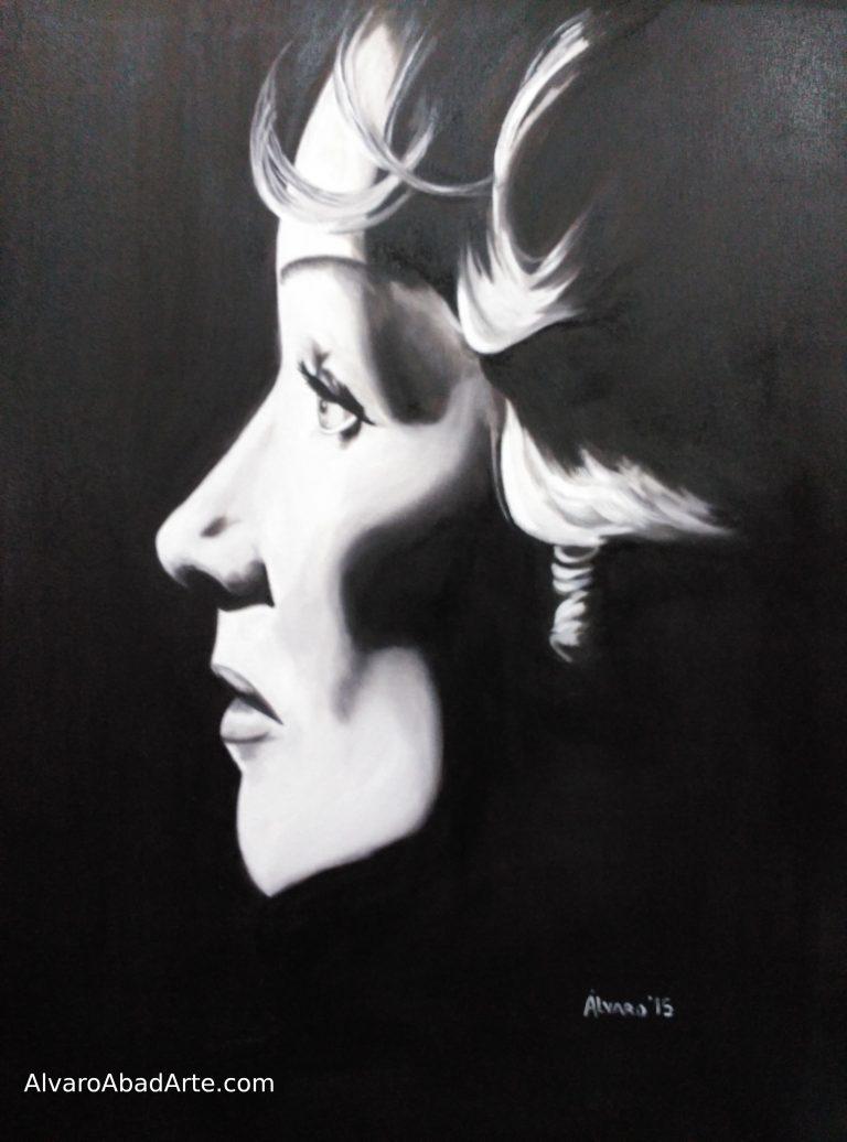 Marlene Dietrich Retrato Óleo Blanco y Negro Finlandia Helsinki 2019