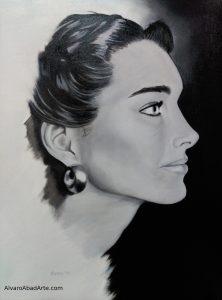 Brooke Shields Retrato Óleo Blanco y Negro
