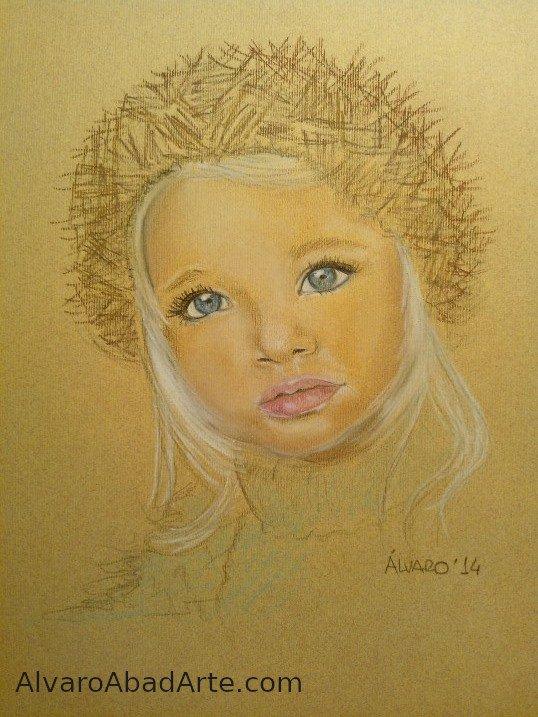 Niña del Este Retrato Pastel