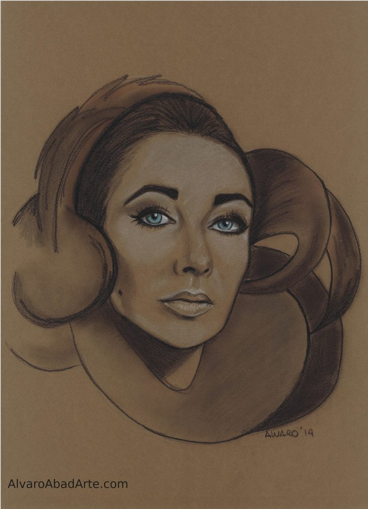 Liz Taylor Pastel Retrato