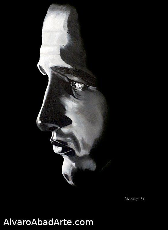 Paul Newman Retrato Óleo Blanco y Negro Torremirona
