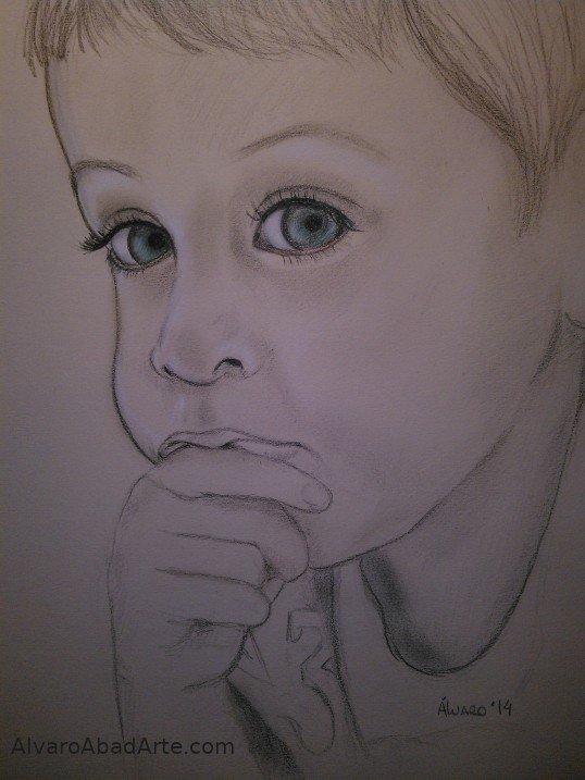 Pensador Retrato Pastel Niño