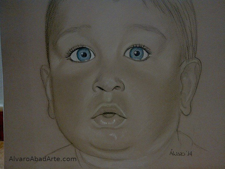 Ojazos David Retrato Pastel Niño
