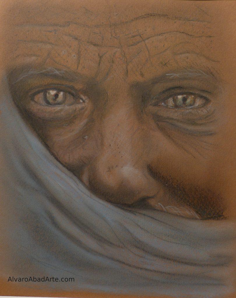 Tuareg Retrato Pastel