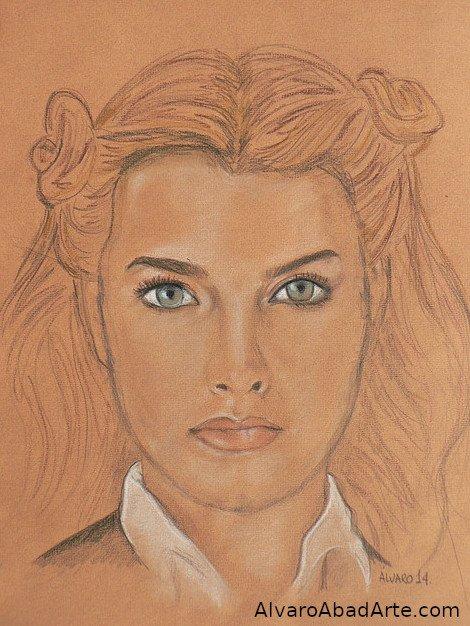 Brooke Shields Retrato Pastel