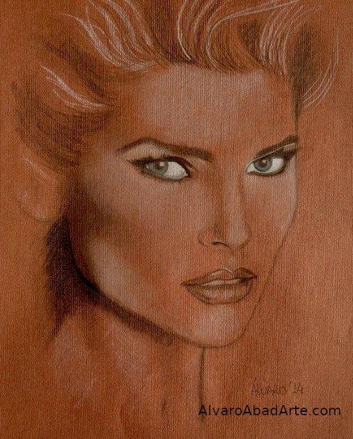 Christie Brinckley Retrato Pastel