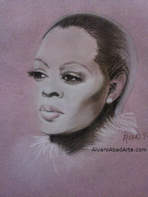 Diana Ross Retrato Pastel