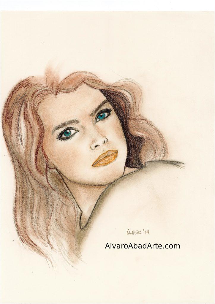 Brooke Shields Vogue Retrato Pastel