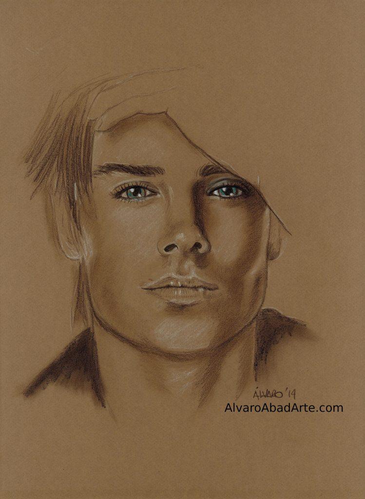 Zac Efron Retrato Pastel